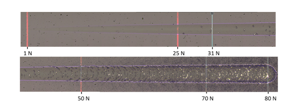 Figure 3 : Photo (optical microscope) of scratch test realized on a High Speed Steel substrate (65 HRc) coated with a 2 µm film (length of the scratch 3 mm ; load ramp 158 N.min)