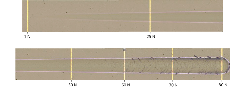 Fig 5: Scratch test (optical microscope) realized on High Speed Steel substrate test piece (65HRc) with mirror finish coated with a thin film of CrN with 2µm thickness (length of scratch test is 3mm, load increment of 158N.min)